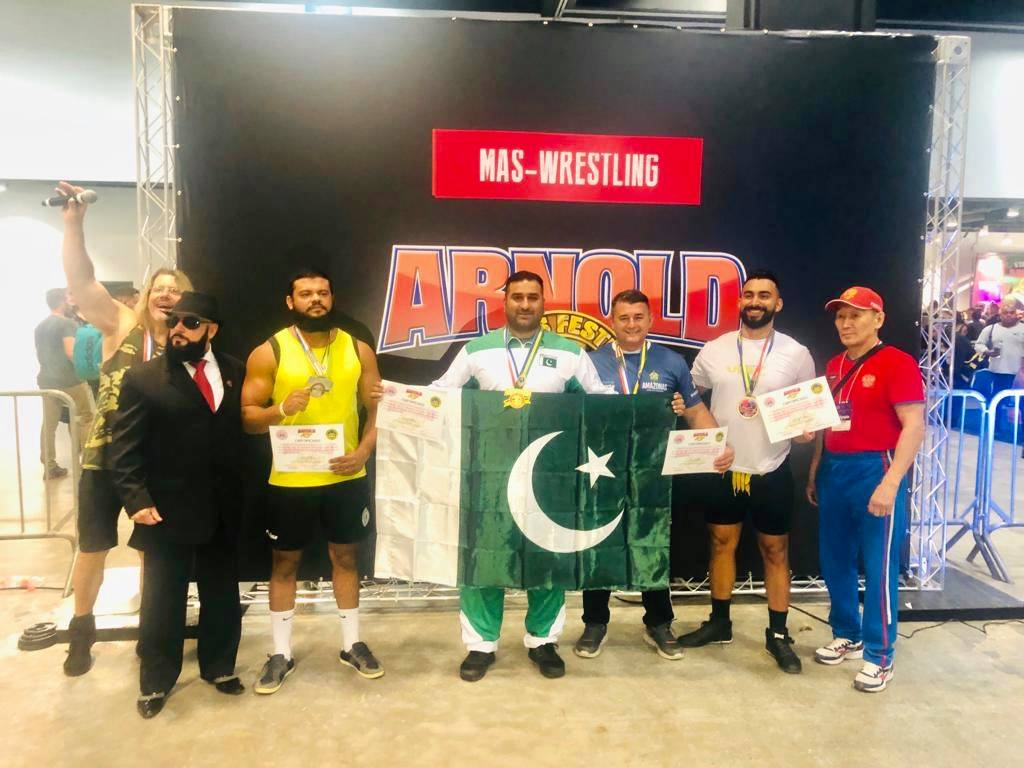 Pakistan bags 2 gold & 1 bronze medal in Arnold Classic Mas-Wrestling Championship 2019